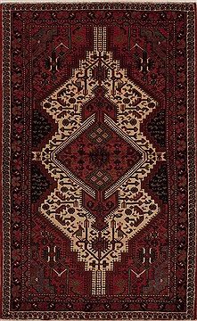 Persian Hamedan Red Rectangle 5x8 ft Wool Carpet 13335