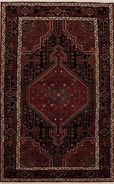 Persian Hamedan Red Rectangle 5x7 ft Wool Carpet 13347