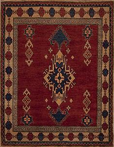 "Pakistani Kazak  Wool Red Area Rug  (3'11"" x 5'0"") - 251 - 13512"