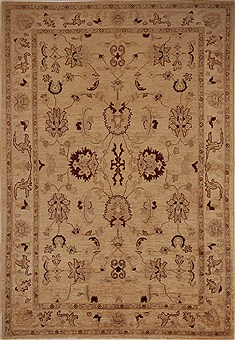 Pakistani Pishavar Beige Rectangle 5x8 ft Wool Carpet 13643