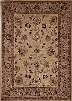 Pakistani Pishavar Beige Rectangle 5x8 ft Wool Carpet 13689