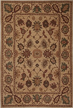 Pakistani Pishavar Beige Rectangle 5x8 ft Wool Carpet 13694
