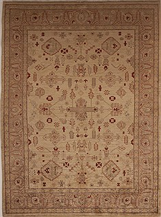 Pakistani Pishavar Beige Rectangle 7x10 ft Wool Carpet 13699