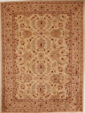 Pakistani Pishavar Beige Rectangle 7x10 ft Wool Carpet 13711
