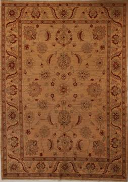 Pakistani Pishavar Beige Rectangle 7x10 ft Wool Carpet 13719