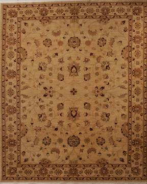 Pakistani Pishavar Beige Rectangle 8x10 ft Wool Carpet 13738