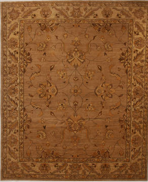 Pakistani Pishavar Beige Rectangle 8x10 ft Wool Carpet 13758