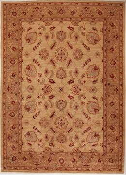 Pakistani Pishavar Beige Rectangle 7x10 ft Wool Carpet 13774