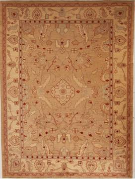 Pakistani Pishavar Beige Rectangle 7x10 ft Wool Carpet 13780