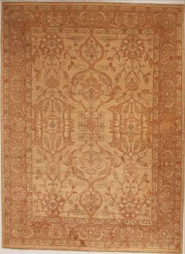 Pakistani Pishavar Beige Rectangle 7x10 ft Wool Carpet 13784
