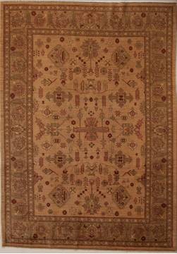 Pakistani Pishavar Beige Rectangle 7x10 ft Wool Carpet 13790