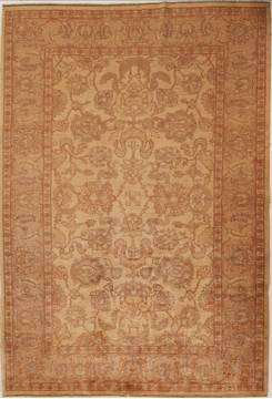 Pakistani Pishavar Beige Rectangle 7x10 ft Wool Carpet 13791