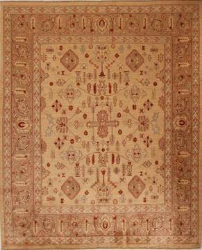 Pakistani Pishavar Beige Rectangle 8x10 ft Wool Carpet 13794