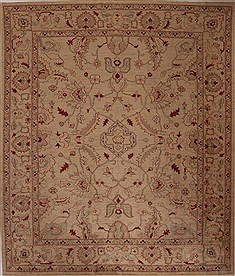 Pakistani Pishavar Beige Rectangle 8x10 ft Wool Carpet 13814