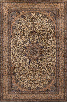 Persian Nain Beige Rectangle 7x10 ft Wool Carpet 13833