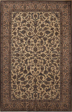 Persian Nain Beige Rectangle 7x10 ft Wool Carpet 13844