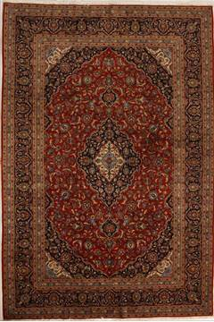 Persian Kashan Red Rectangle 7x10 ft Wool Carpet 13845