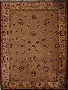Pakistani Pishavar Beige Rectangle 9x12 ft Wool Carpet 13879