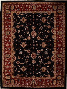 Pakistani Pishavar Black Rectangle 9x12 ft Wool Carpet 13880