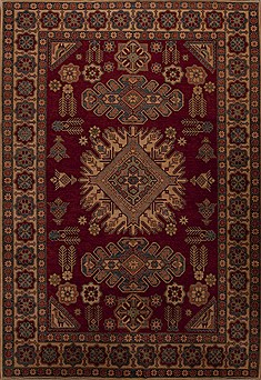 Pakistani Kazak Red Rectangle 8x11 ft Wool Carpet 13889