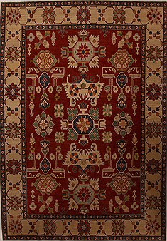 Pakistani Kazak Red Rectangle 8x11 ft Wool Carpet 13892