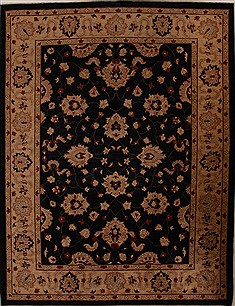 Pakistani Pishavar Black Rectangle 9x12 ft Wool Carpet 13899