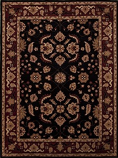 Pakistani Pishavar Black Rectangle 9x12 ft Wool Carpet 13958
