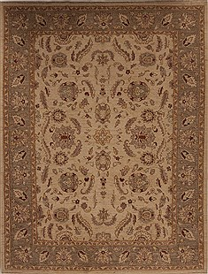 Pakistani Pishavar Beige Rectangle 9x12 ft Wool Carpet 13960