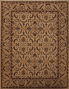 Pakistani Pishavar Beige Rectangle 9x12 ft Wool Carpet 13965