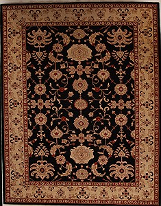 Pakistani Pishavar Black Rectangle 9x12 ft Wool Carpet 13971