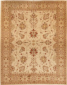 Pakistani Pishavar Beige Rectangle 9x12 ft Wool Carpet 13977