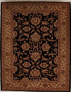Pakistani Pishavar Black Rectangle 9x12 ft Wool Carpet 13978
