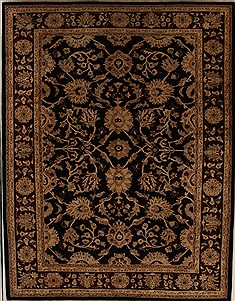 Pakistani Pishavar Black Rectangle 9x12 ft Wool Carpet 13981