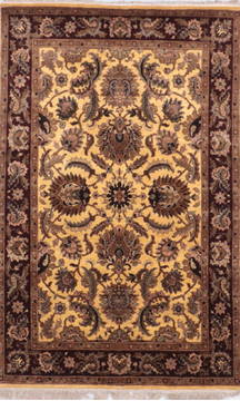 "Jaipur Yellow Hand Knotted 4'0"" X 6'4""  Area Rug 905-132594"