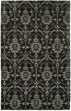 Kalaty GRAMERCY Black Rectangle 4x6 ft Wool and Silkette Carpet 133021