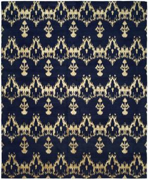 Kalaty GRAMERCY Blue Rectangle 8x10 ft Wool and Silkette Carpet 133044