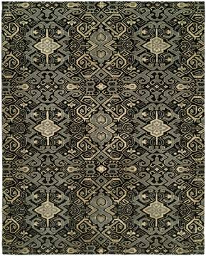 Kalaty GRAMERCY Black Rectangle 8x10 ft Wool and Silkette Carpet 133099