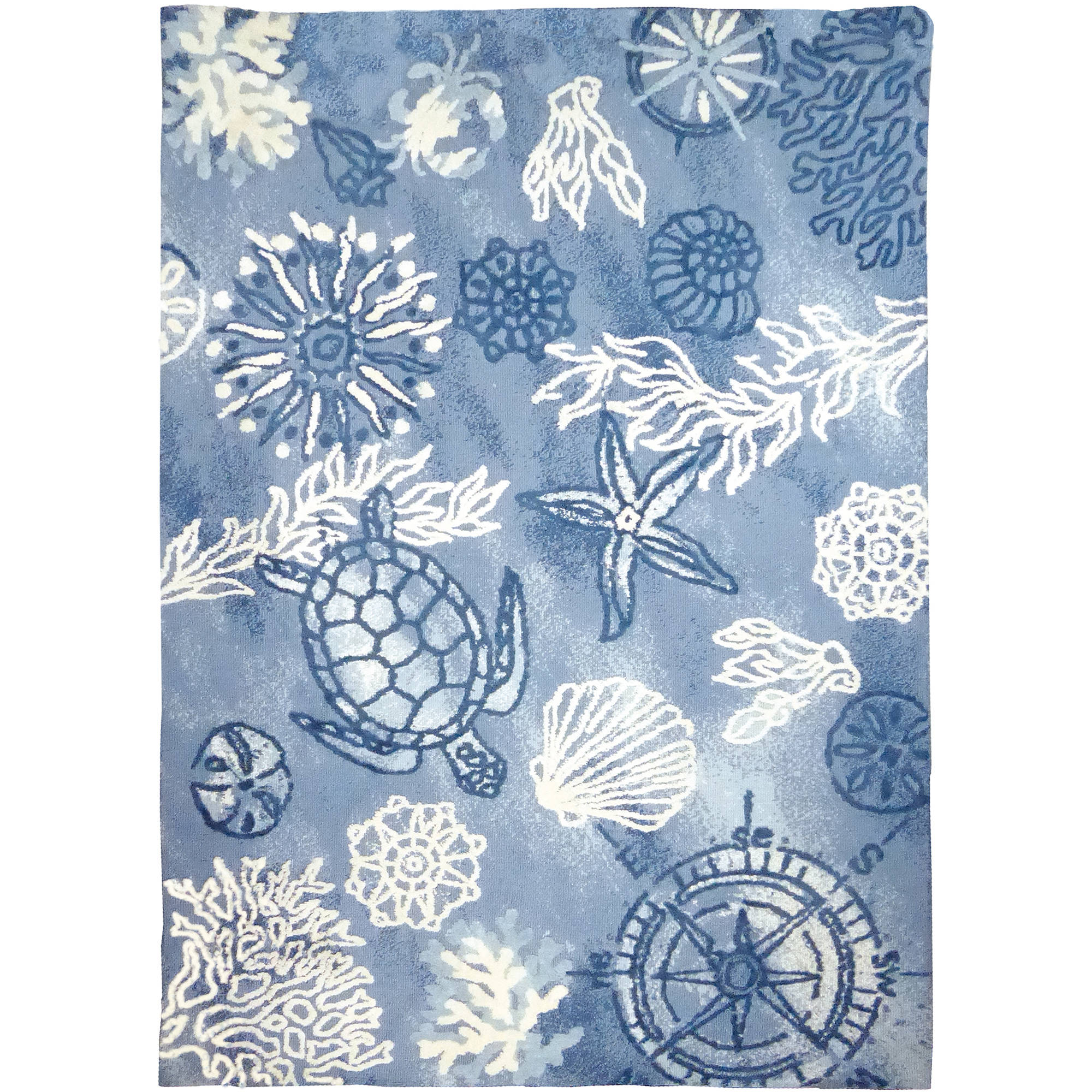 Homefires Coastal Blue Rectangle 5x7 Ft