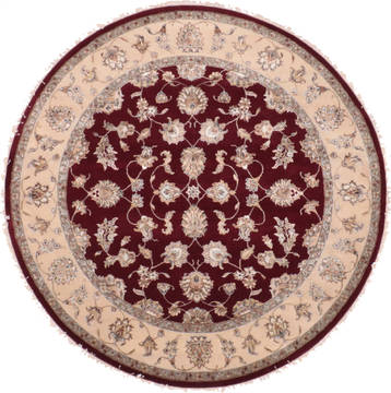 "Jaipur Red Round Hand Knotted 7'0"" X 7'0""  Area Rug 905-135651"