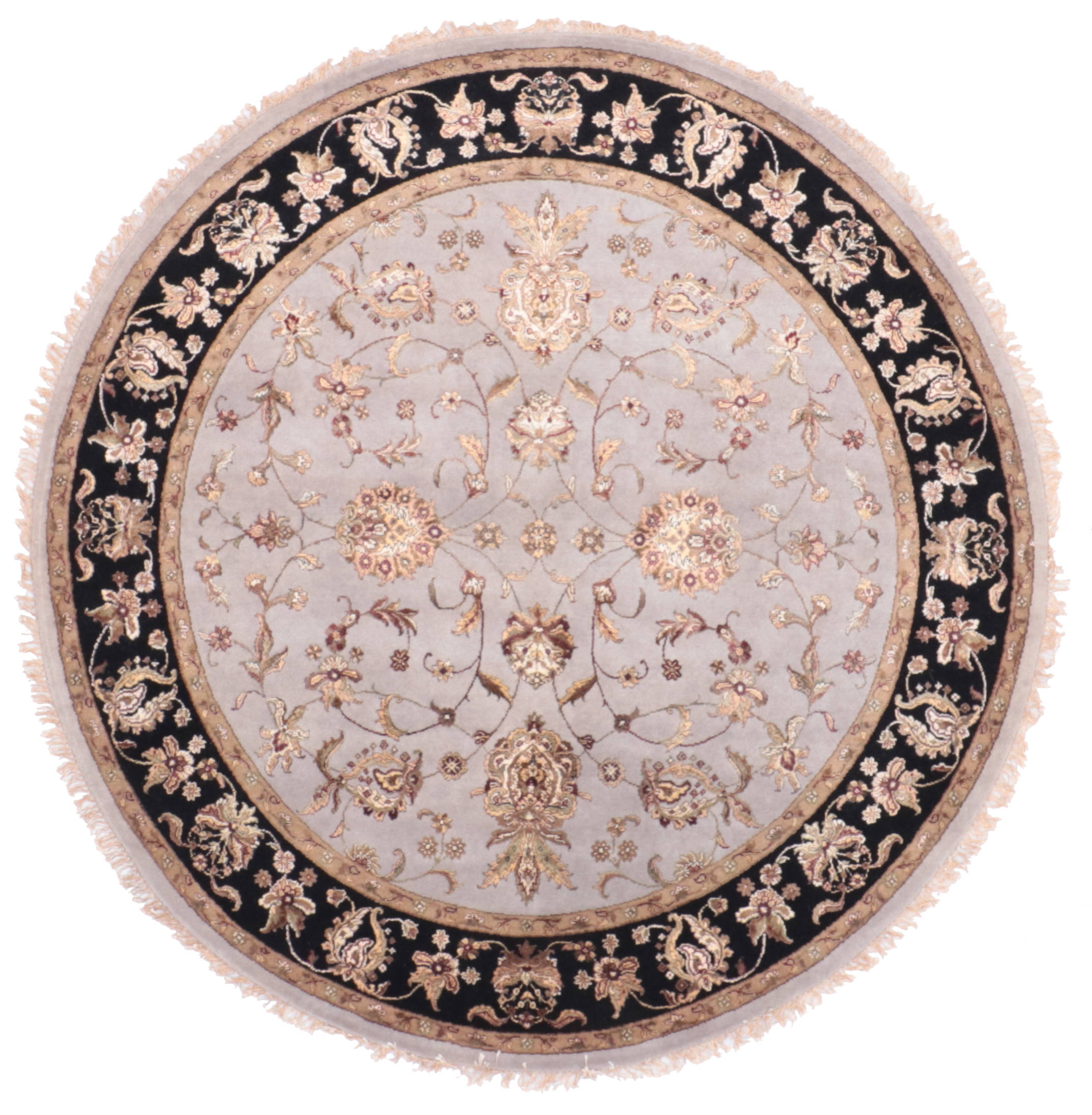Picture of: Indian Jaipur Blue Round 7 To 8 Ft Wool And Raised Silk Carpet 135657 Sku 135657