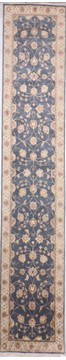Indian Jaipur Blue Runner 13 to 15 ft Wool and Raised Silk Carpet 135677