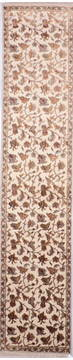 Indian Jaipur Beige Runner 10 to 12 ft Wool and Raised Silk Carpet 135679