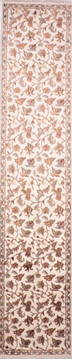 Indian Jaipur Beige Runner 13 to 15 ft Wool and Raised Silk Carpet 135681