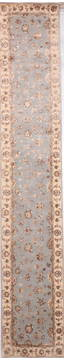 Indian Jaipur Blue Runner 13 to 15 ft Wool and Raised Silk Carpet 135685