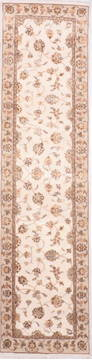 Indian Jaipur White Runner 10 to 12 ft Wool and Raised Silk Carpet 135688