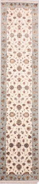 "Jaipur White Runner Hand Knotted 2'7"" X 12'0""  Area Rug 905-135702"