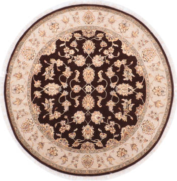 "Jaipur Brown Round Hand Knotted 6'1"" X 6'3""  Area Rug 905-135718"