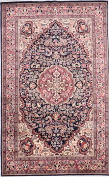 "Kashan Blue Hand Knotted 4'1"" X 6'5""  Area Rug 905-135728"