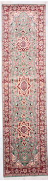 "Kashan Green Runner Hand Knotted 2'6"" X 9'6""  Area Rug 905-135733"