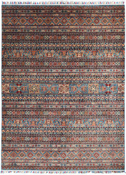 "Geometric Blue Hand Knotted 5'9"" X 7'8""  Area Rug 700-135748"